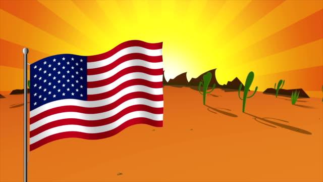 American flag over desert