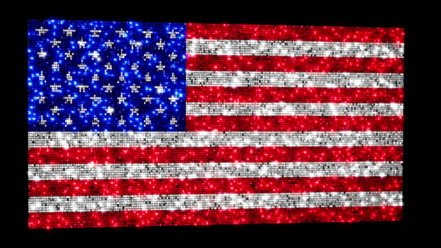 American flag. Sequins. Loopable. Zoom out. video