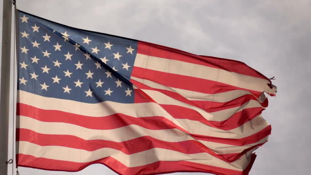 American flag slow motion video