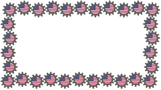 American flag spinning cogs frame video