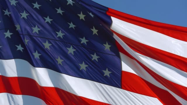 American Flag Waving, background close up, 4K video