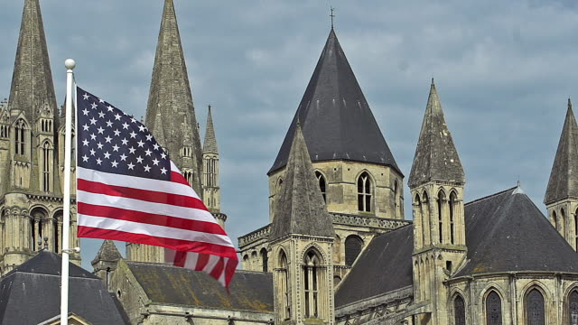 American Flag Waving in the Wind, Caen City in Normandy, Slow Motion American Flag Waving in the Wind, Caen City in Normandy, Slow Motion caen stock videos & royalty-free footage