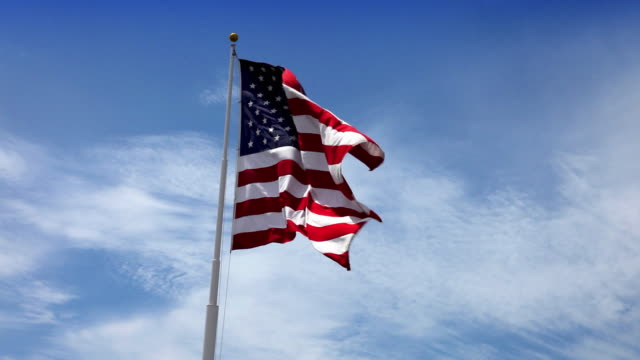 usa american flag waving in the wind - american flag stock videos & royalty-free footage