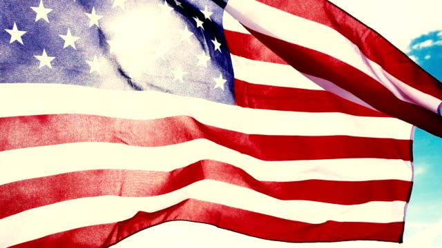 4K CU : American Flag Waving in Wind 4K CU : American Flag Waving in Wind caen stock videos & royalty-free footage