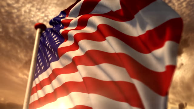 American flag with a warm, golden nostalgic look. video
