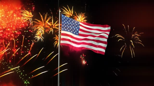 American Flag With Night Sky And Fireworks