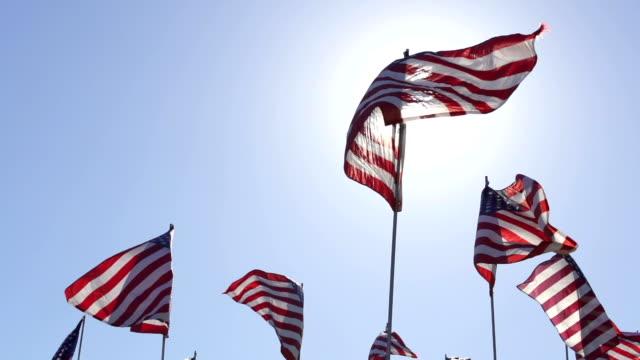 bandiera americana sventolare al vento - bandiera degli stati uniti video stock e b–roll