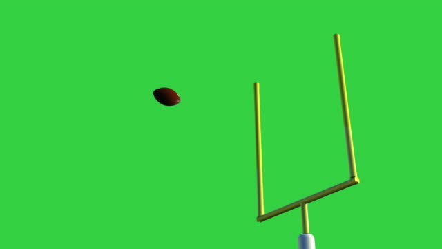 american football ball through goal post 3d rendering american football ball through goal post isolated on green screen background goal post stock videos & royalty-free footage