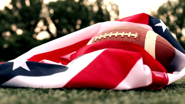 American football ball with us national flag video