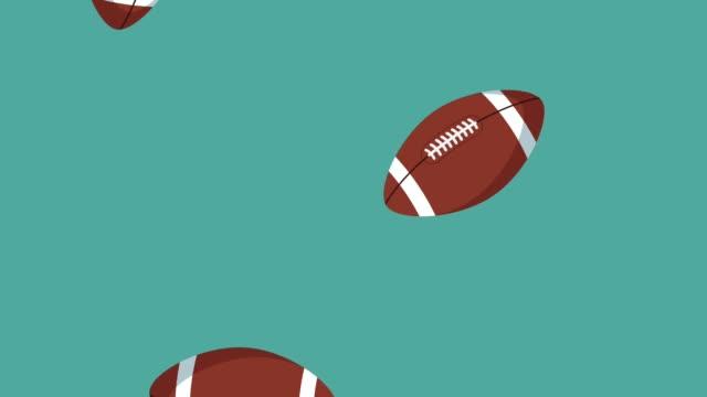 american football balls raining hd animation - sprzęt sportowy filmów i materiałów b-roll