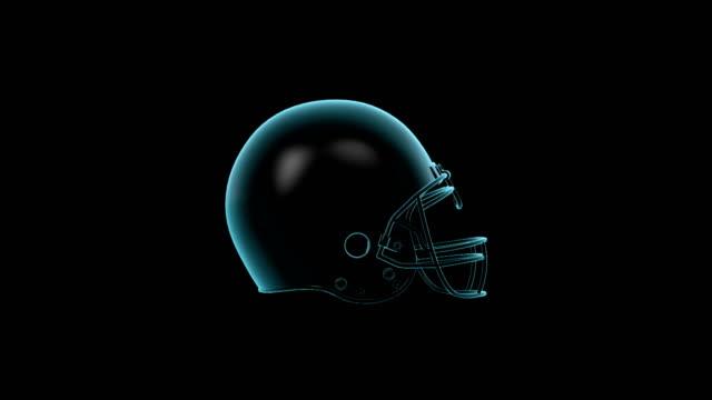 American Football Helmet rotating loop isolated with luma matte video
