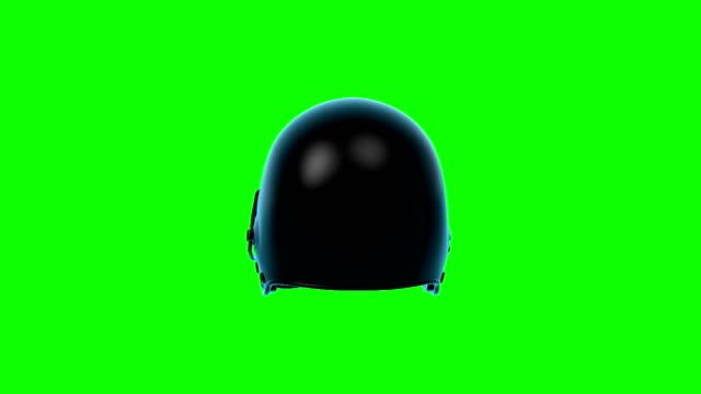 American Football Helmet rotating loop on green screen. video