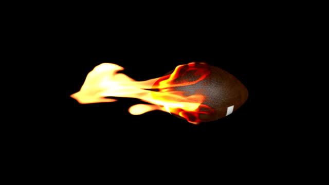 American football on fire, loop video