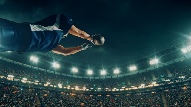 American football player jumps with a ball American football player jumps with a ball on a professional sports arena with bleaches full of people. Arena and people on it are made in 3D and animated. touchdown stock videos & royalty-free footage