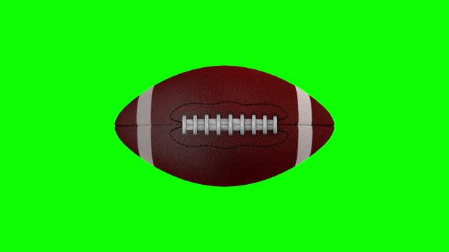 American football rotating over a chroma key background