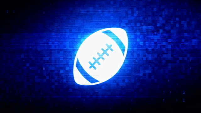 American Football Symbol Digital Pixel Noise Error Animation. American Football  Symbol Abstract Digital Pixel Noise Glitch Error Video Damage Signal Loop 4K Animation. touchdown stock videos & royalty-free footage