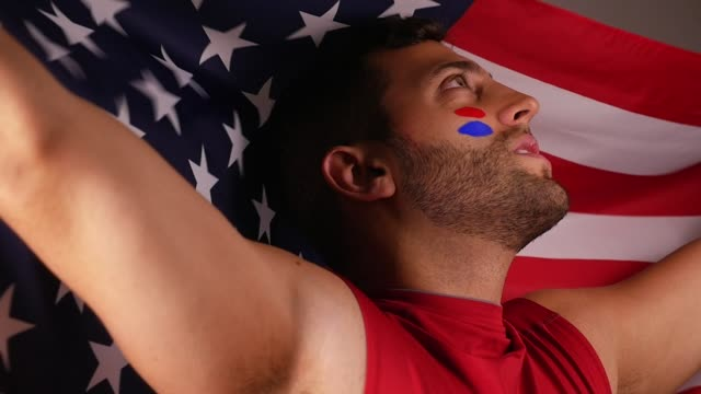 American Guy Celebrating with National Flag video