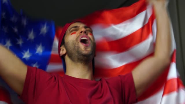 American Guy Celebrating with USA Flag video