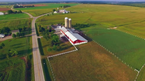 vídeos de stock e filmes b-roll de heartland americano, midwest voo de cerimónia, paisagem com explorações, barreiras - cena rural