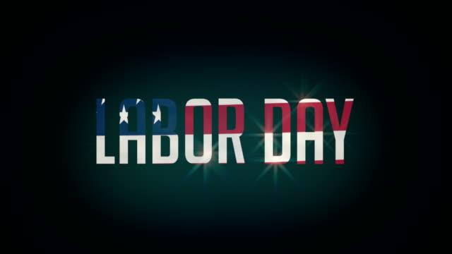 Amerikanischen Labor Day Flagge und Typpography Animation 4K – Video