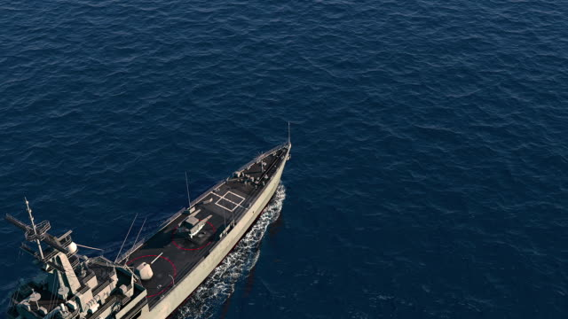 American Modern Warship In The High Seas. Top View. video