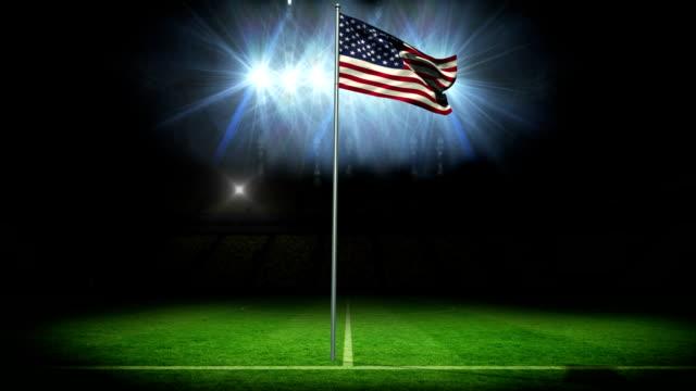 American national flag waving on flagpole video