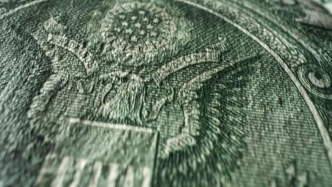 amerikan bir dolar bill - money stok videoları ve detay görüntü çekimi
