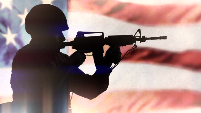 American Solider, Army Silhouette and US Flag, Patriotic Background video