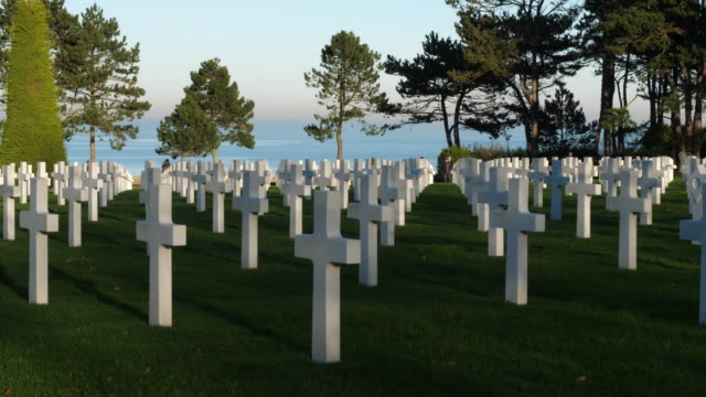 American war cemetery, Colleville on Sea, Channel,France American war cemetery, Colleville sur Mer, Manche,France us military stock videos & royalty-free footage