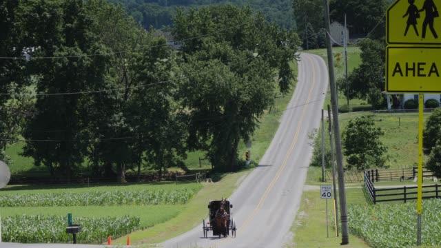 amish häst och buggy rida längs vägen - pennsylvania bildbanksvideor och videomaterial från bakom kulisserna