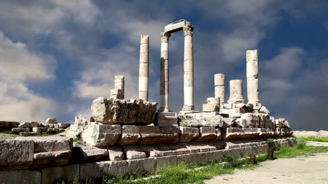 Amman city landmarks-- old roman Citadel Hill, Jordan video