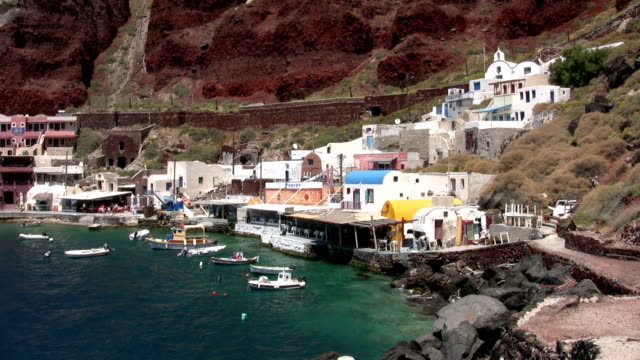 Ammoudi Harbour below Oia, Santorini, Greece video
