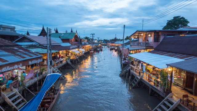 Amphawa floating market in Thailand at Dusk, Floating Market, Time Lapase Zoom in video