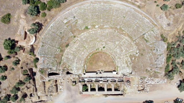 amphitheater in nysa, turkey - greek architecture stock videos & royalty-free footage