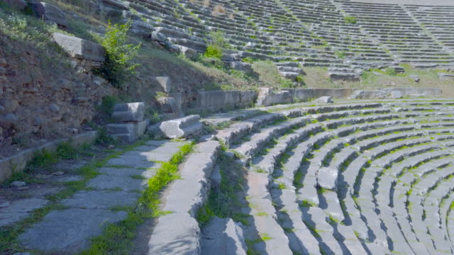 amphitheatre in the nysa on the maeander in aydın province - mitologia video stock e b–roll