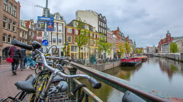 amsteram canal city landmark and historic - dutch architecture stock videos & royalty-free footage