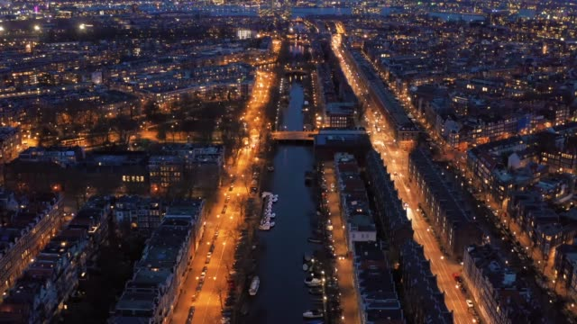 Amsterdam at night, aerial view, Amsterdam, Netherlands, drone footage video