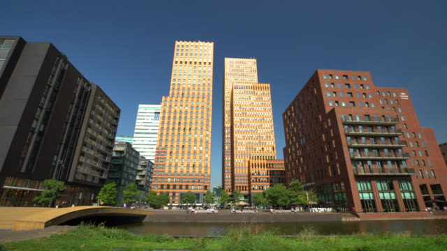 Amsterdam Business District Zuidas, Panning Amsterdam Business District Zuidas office park stock videos & royalty-free footage