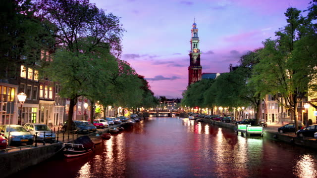 canali di amsterdam - amsterdam video stock e b–roll