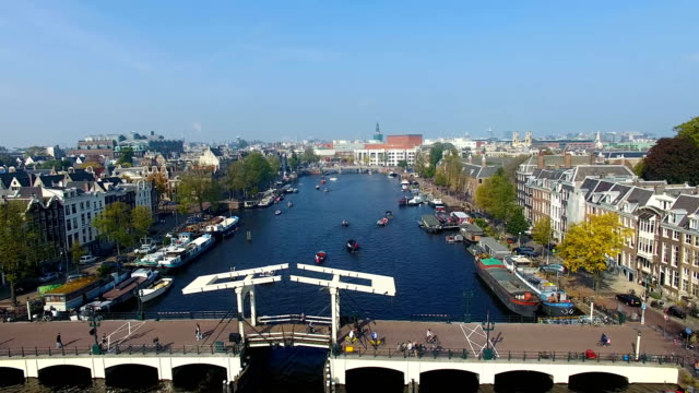 amsterdam canal, view from above - amsterdam video stock e b–roll