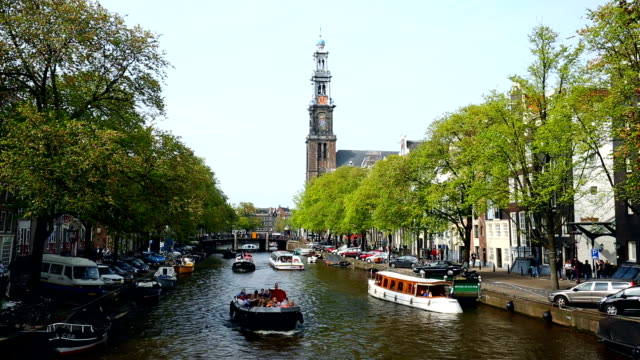 Amsterdam canal with Westerkerk in summer video