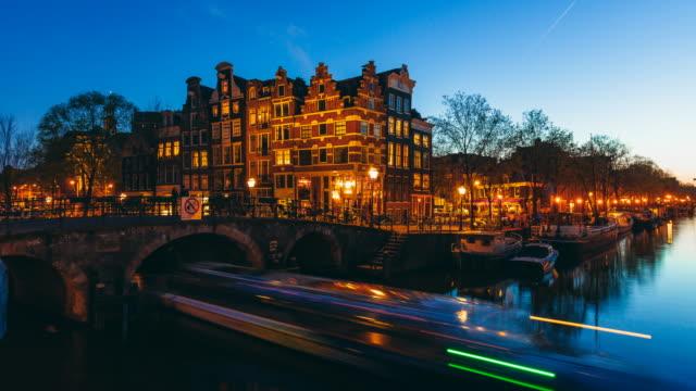 Amsterdamer Grachten bei Nacht Zeitraffer – Video