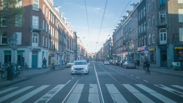 Amsterdam center raw footage timelapse through a tram window video