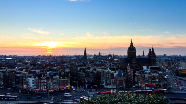 Amsterdam cityscape timelapse video