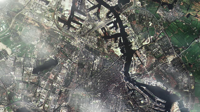 Amsterdam from Space. Elements of this video furnished by NASA. Amsterdam from Space. Elements of this video furnished by NASA. Full HD. image stock videos & royalty-free footage