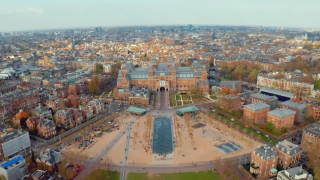 Amsterdam landscape near famous museum Aerial view Amsterdam landscape near famous museums and parks. amsterdam stock videos & royalty-free footage