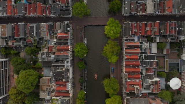 Amsterdam, Netherlands Canal Overhead Birds View with Boat traffic Amsterdam, Netherlands Canal Overhead Birds View with Boat traffic 4K european culture stock videos & royalty-free footage