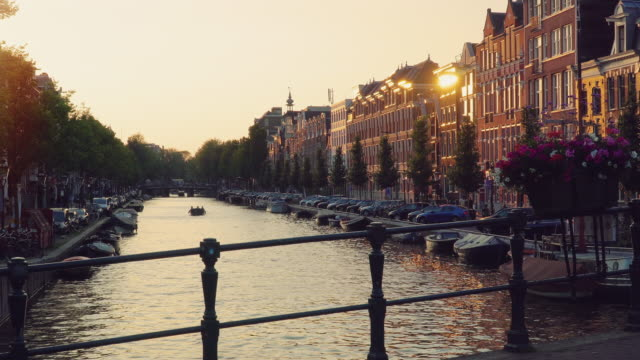 Amsterdam, Netherlands. Sunset over the Amsterdam canals