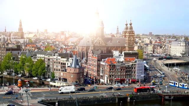 stockvideo's en b-roll-footage met de skyline van amsterdam, de time-lapse - netherlands