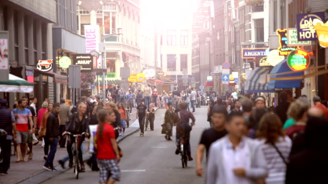 amsterdam street, close to the red light district - amsterdam video stock e b–roll